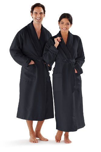 nd Men's Robe, Luxury Microfiber Black Bathrobe, XXL ()