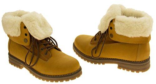 Mujeres KEDDO hi top Lanas calientes forradas botas de tobillo Tan