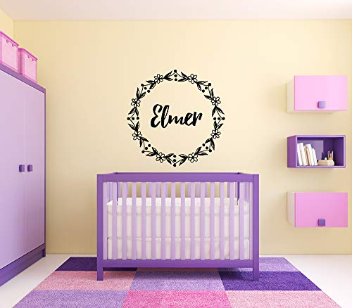 Vinyl Sticker Elmer Boy Floral Name Font Type Kids Room Nursery Mural Decal Wall Art Decor EH3904