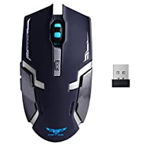 Wireless Mouse Rechargeable , 2.4GHz Wireless 6 Buttons Rechargeable Mouse Silent Buttons Built-in 800mAh Battery 800-1600dpi for PC Computer Notebook