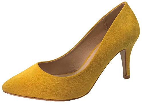 Forever Collection Womens Pumps Mid to Low Heel Slip On Shoes Faux Leather, Mustard, 7.5