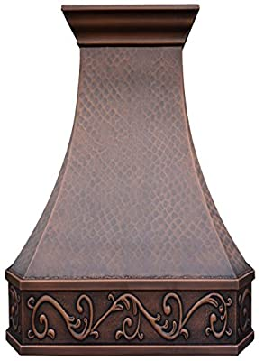 Copper Best H3 302142L Copper Oven Hood 30 inch Antique Hammered Finish, Includes Liner and Internal Motor