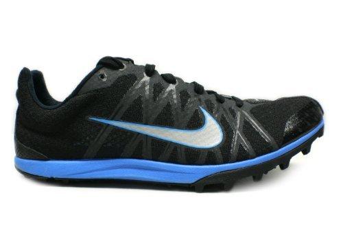 Nike Adult Unisex Zoom Waffle XC 10 Cross Country Shoe Black/Blue Glow/Metallic Silver Size 8.5