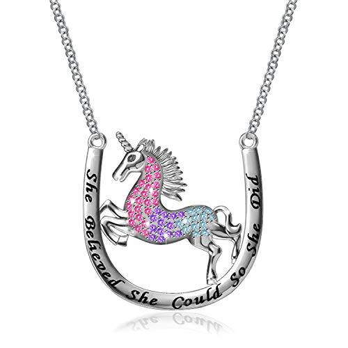 MONBO Silver Unicorn Necklace Gift 925 Sterling Silver Fairytale Unicorn Pendant Necklace for Women, Girls, Kids (Fairytale Unicorn) (She Believe 20'')