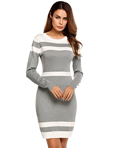 Beyove Women s Colorblock Striped Long Sleeve Cotton Knit Sweater Bodycon  Dress 069749c26
