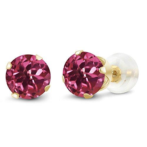 0.48 Ct Round Pink Tourmaline Gemstone 10K Yellow Gold Stud Earrings 4mm (Earrings Tourmaline Date)