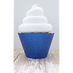Royal Blue Glitter Cupcake Wrappers - Standard and Mini Sized Holders - Set of 12
