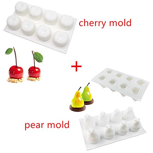 Cacys-Store - Pine Nuts Apple Pear Cherry Shape Silicone Mold Cake Mold DIY 3D Fruit Mouse Mould Cupcake Cookie Muffin Soap Baking Tools