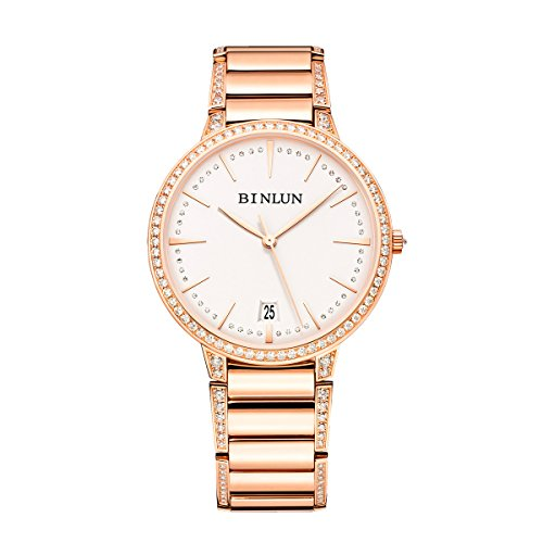 18k Diamond Wrist Watch - BINLUN Mens Automatic Watches Ultra Thin Waterproof Luxury 18K Rose Gold Diamond Watch with Date