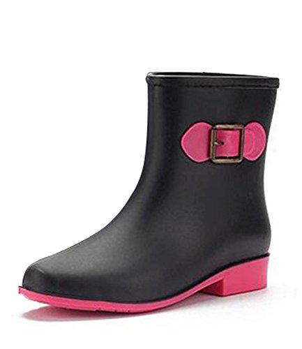 deslizante Zapatos Minetom Ligera Mujer Botas Agua Casual Moda Lluvia Anti De Negro Arco Botines De Muy Festival Boot Impermeable Rain P6a0xnP