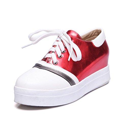 Sandalette de Zapatos Cabeza Plano Zapatos Zapatos Zapatos red Zapatos Mujer Redonda de Solo Gran de Casuales Tamaño Cordones de Fondo Mujer DEDE Casuales de rP0Oq4rx