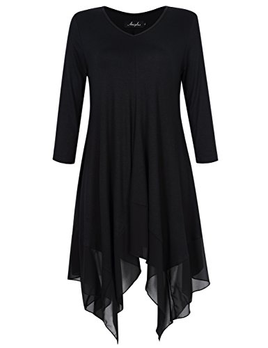 AMZ PLUS Womens Plus Size Irregular Hem Long Sleeve Loose Shirt Dress Top Black 2XL -