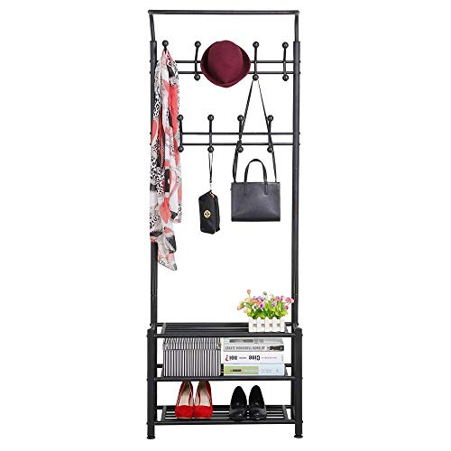 - Yaheetech Hall Tree Metal Entryway 18 Hooks Coat Rack with 3-Tier Shoe Rack Bench Hat Umbrella Stand (Black)