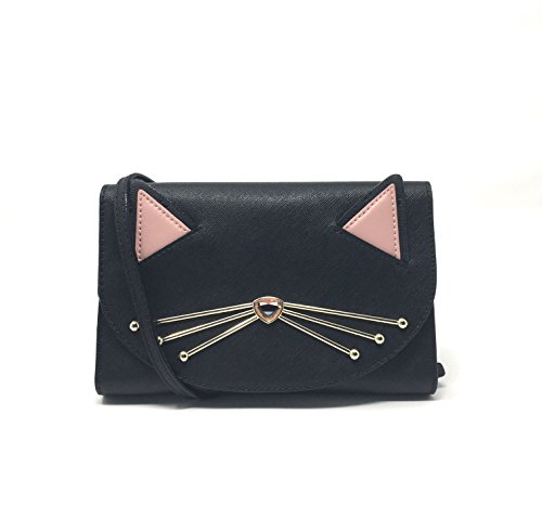 Kate Spade Jazz Things Up Cat Winni Black Leather Crossbody Clutch WLRU3102 (Kate Spade Black Cat)