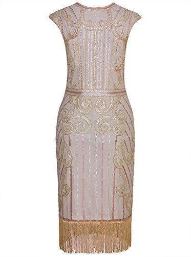 Gatsby Vintage embellecido Inspirado Pink Beige larga mujer lentejuelas Vestido franja la 1920 Vijiv EXwzqBW