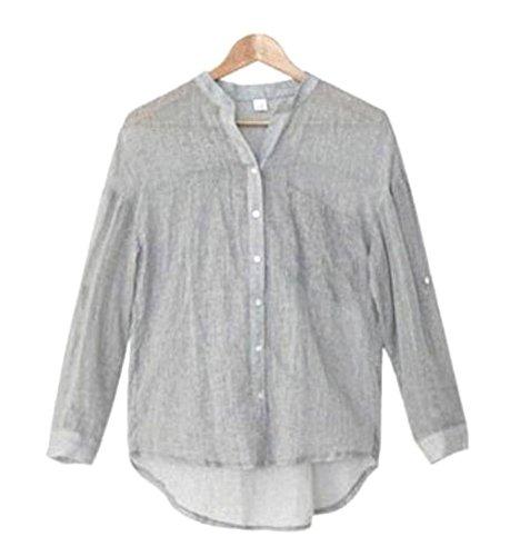 [オチビ] モダン 抜け襟 リネン 麻 七分袖 長袖 2WAY 薄手 シャツ ブラウス カーディガン M ~ 2XL