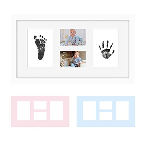 "Baby Hand & Footprint Photo Frame Kit -""Clean-Touch"" Ink Pad & White Frame Included, Personalized Gift for Showers, Registries & More, by Kubai"