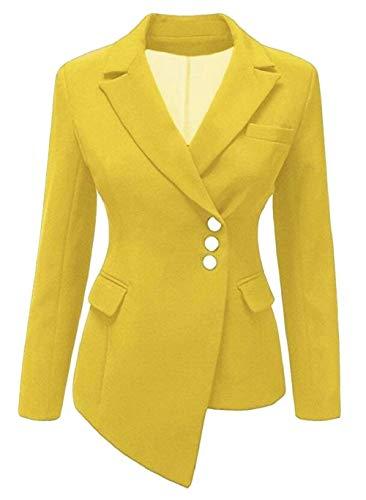 Colore Outwear Puro Offlce Giacca Gelb Manica Tailleur Moda Single Mode Ovest Autunno Breasted Marca Bavero Di Lunga Donna Cappotto Da Giovane Irregular RqwS66