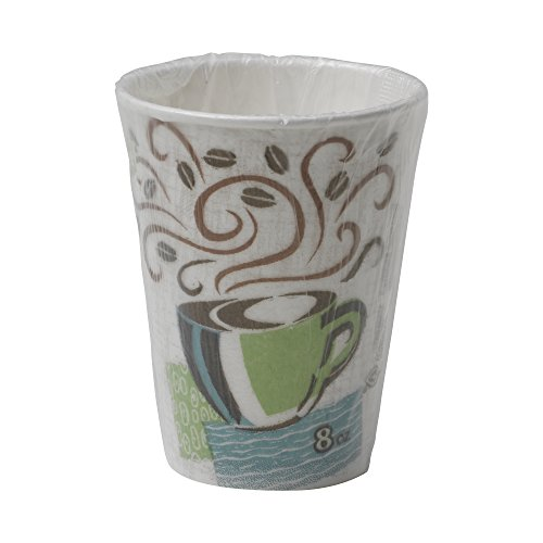 Dixie PerfecTouch 5338CDWR Individually Wrapped Insulated Paper Hot Cup, 8oz (Case of 20 Sleeves, 50 Cups per Sleeve) by Dixie
