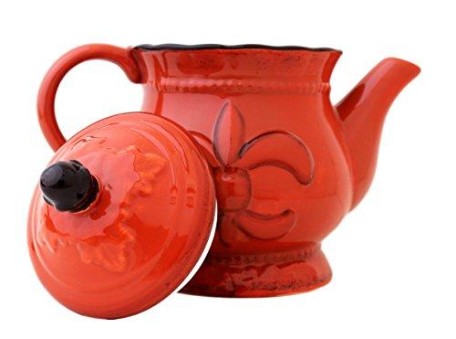 Tuscany Colorful Hand Painted Fleur De Lis **COLLECTION** By ACK (Orange Teapot) Fleur Teapot