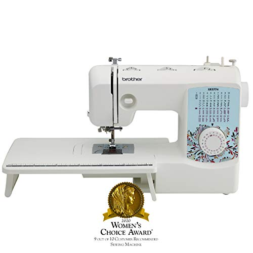 Brother XR3774 Full Featured Quilting Machine with 37 Stitches, 8 Sewing Feet, Wide Table, and Instructional DVD, Red