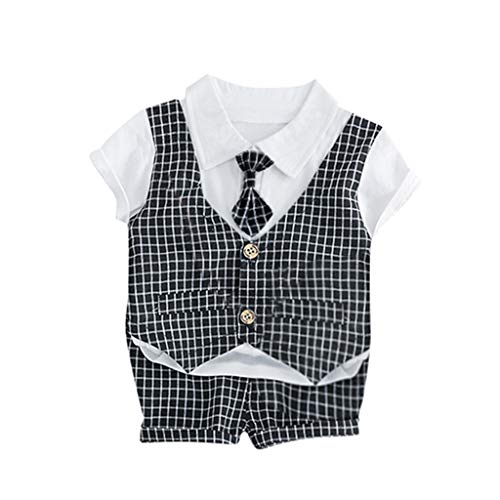 ❤️ Mealeaf ❤️ Toddler Baby Kids Boys Patchwork Plaid Tops Shorts Pants Gentlement Set(Navy,70/6)