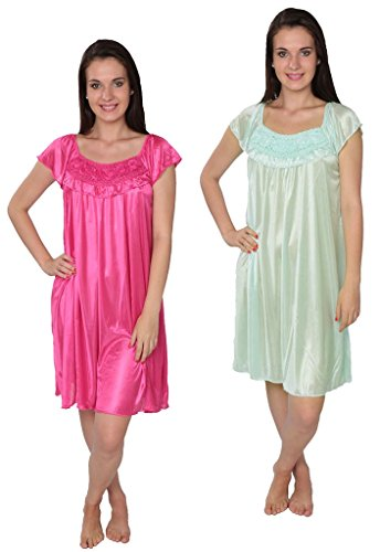 womens-solid-tricot-long-shiny-satin-silky-nightgown-x9032-fuchs-lime-xl