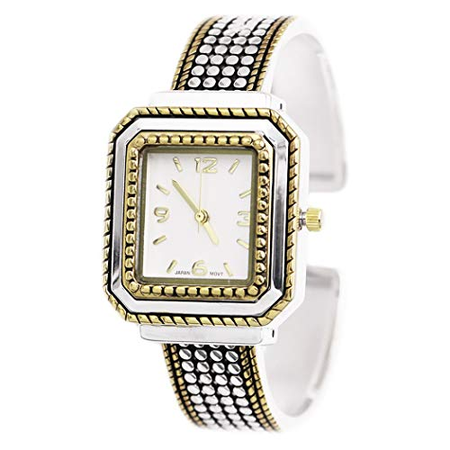 Rosemarie Collections Women's Two Toned Textured Square Face Concho Bangle Bracelet Cuff Watch