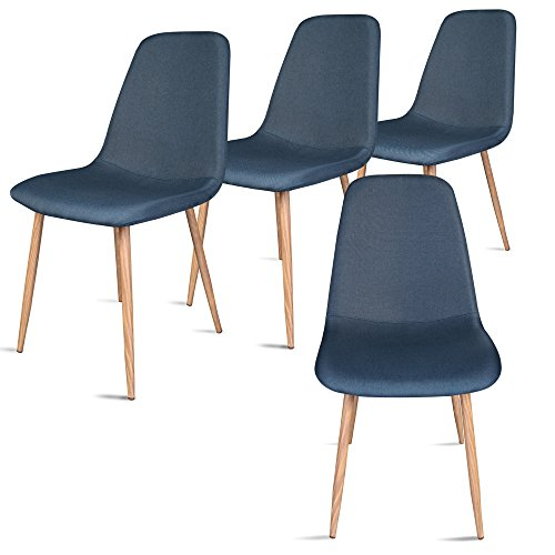 Leopard Modern Dining Chairs with Metal Legs and Fabric,Dining room Chair Set of 4,Blue