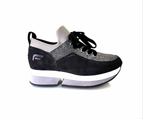 inverno Black autunno FORNARINA e collezione 2017 glitter sneaker PI18SL1080V000 nuova con zeppa xAz4q