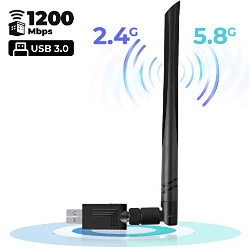 USB WiFi Adapter 1200 Mbps USB Wireless Network Adapter with Dual Band 2.4GHz/300Mbps+5GHz/866Mbps 5dBi Antenna for Desktop Windows XP/Vista/7/8/10 Mac