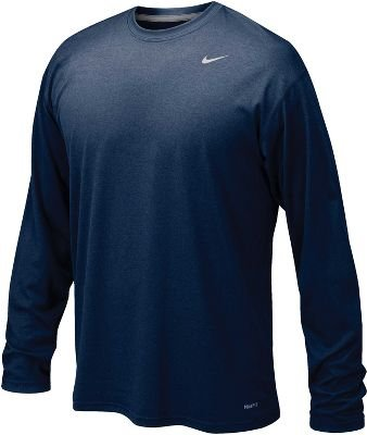 Training Sleeve Shirt (NIKE Mens Legend Poly Long Sleeve Dri-Fit Training Shirt College Navy/Matte Silver 384408-419 Size Small)