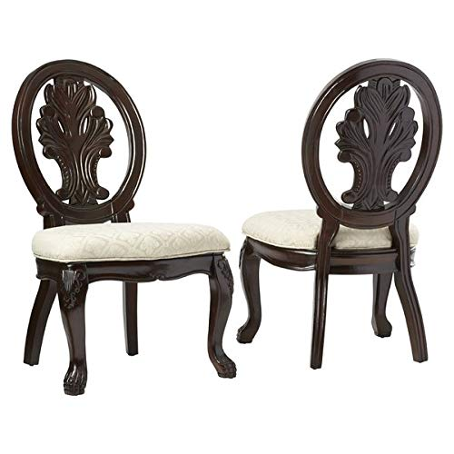 Queen 2 Chairs Anne Arm - Wood Dining Chair with Fabric Upholstery - Dining Chair with Queen Anne Back - Set of 2 - Dark Cherry