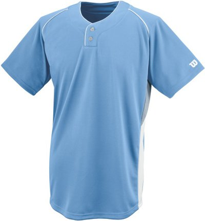 Wilson Sporting Goods Double Bar Mesh 2-Button Jersey, Youth Small, Light Blue ()