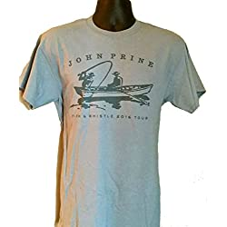 Official John Prine Fish & Whistle 2016 Tour Men's Cotton Tee Shirt (Medium)