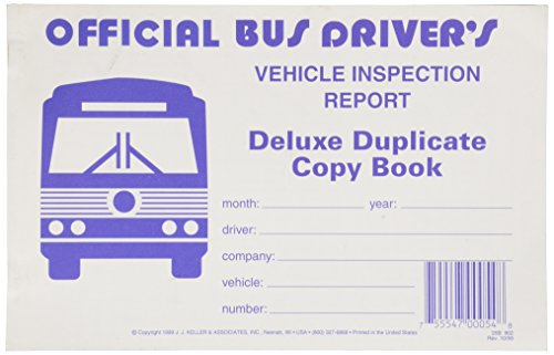 J.J. Keller 902 Bus Driver's Vehicle Inspection Report Book (Driver Reports Trip)