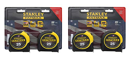 2 Measure - Stanley Consumer Tools FMHT74038 25' Fatmax Tape Measure, 2 Tape Measures per Pack, 4 Tape Measures Total