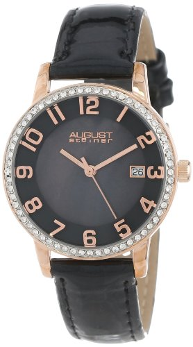August Steiner Women's AS8056RG Swiss Quartz Mother-Of-Pearl Crystal Leather Strap Watch