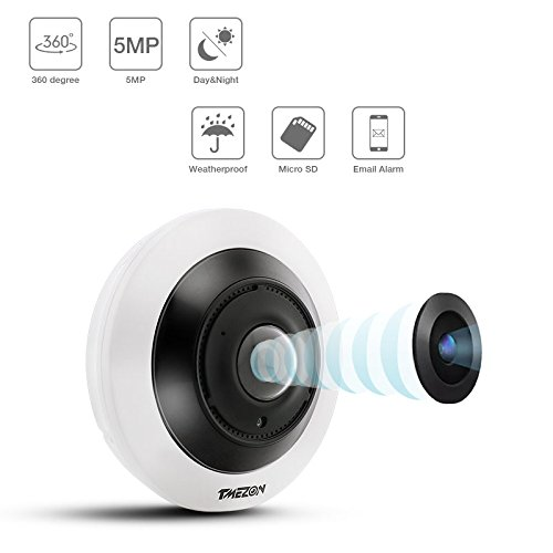 (TMEZON IP Security Camera 5MP POE 3072x1728 Network Wi-Fi 360 Degree Panoramic Fisheye Surveillance Camera Two-Way Audio IR Night Vision Motion Detection Indoor)