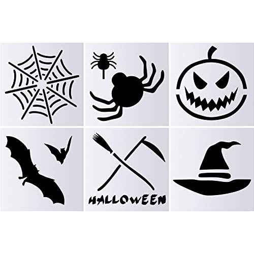 6 Pieces Halloween Chalk Stencil Set, Include Pumpkin Web Bat Owl Hat Sickle Plastic Stencil Templates for Kids Painting Art Crafts