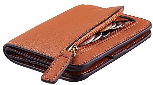 Womens Leather Mini Tan (NapaWalli Womens Rfid Blocking Small Compact Bifold Luxury Genuine Leather Pocket Wallet Ladies Mini Purse with ID Window(ReNapa Tan))
