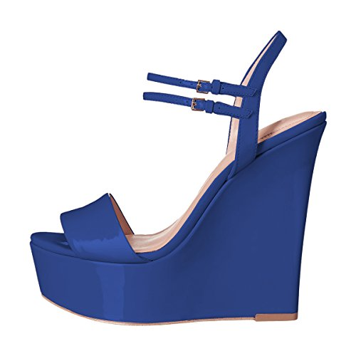 Toe Wedge Sandals Pumps Platform Women Blue Peep High Heel YDN Shoes Ankle Slingback Straps 1qZpEwT