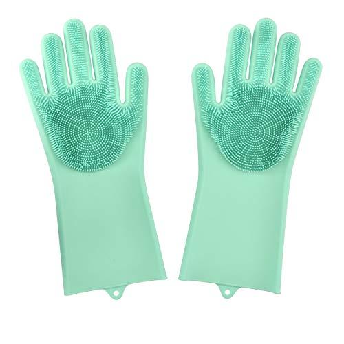 Dakik Magic Dishwashing Gloves Silicone Wash Scrubber, Heat Resistant Reusable Brush Dish Scrubbing for Cleaning, Household, Washing The Car, Pet Hair Care (Best Dish Washing Gloves)