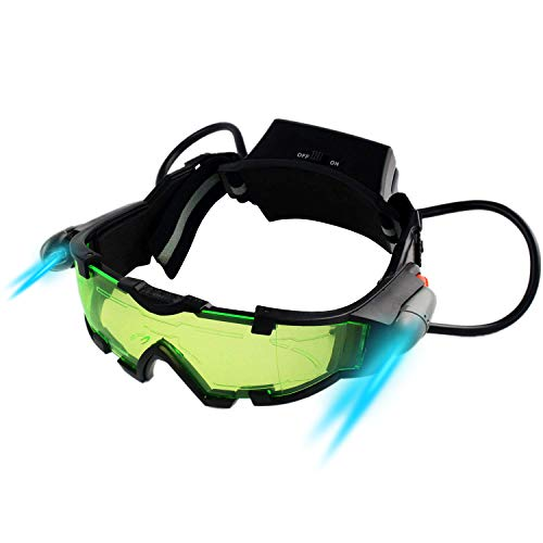 Yolyoo Night Vision Goggles, Adjustable Kids LED Night Goggles Flip-Out Lights Green Lens for Racing Bicycling, Skying…