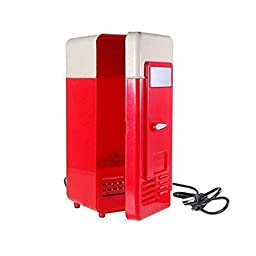 ECSEM Portable USB Powered Mini Fridge Cooler and Warmer Can Refrigerator for Beverage, Drink, Beer - Plug and Play (1 Pack, Red)