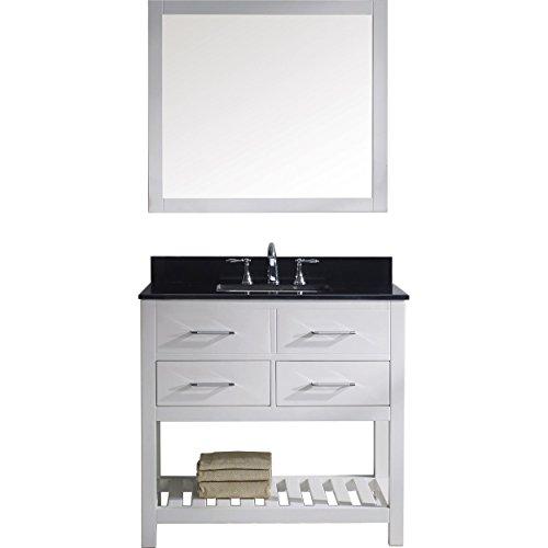 Virtu USA MS-2236-BGSQ-WH-002 Caroline Estate Single Bathroom Vanity Cabinet Set, 36