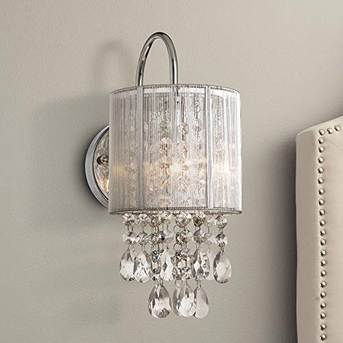 Silver Line Modern Wall Light Chrome 12 Crystal Dangle Sconce for Bathroom Bedroom Hallway