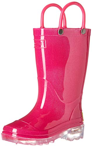 Western Chief Kids Baby Waterproof PVC Light-Up Rain Boot, Solid Pink, 5/6 Medium US Toddler