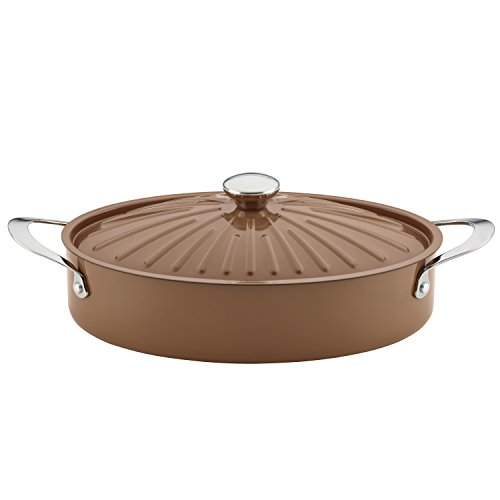 Rachael Ray Cucina Hard Porcelain Enamel Nonstick Covered Oval Sauteuse, 5-Quart, Mushroom Brown - Oval Saute Pan