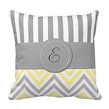 Decors Monogram - Zigzag  - Yellow Gray White Throw Pillow C